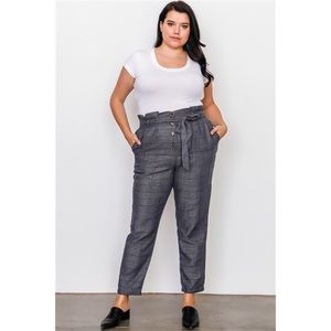 PLUS SIZE GREY PLAID FRILL WAIST BELTED PANTS